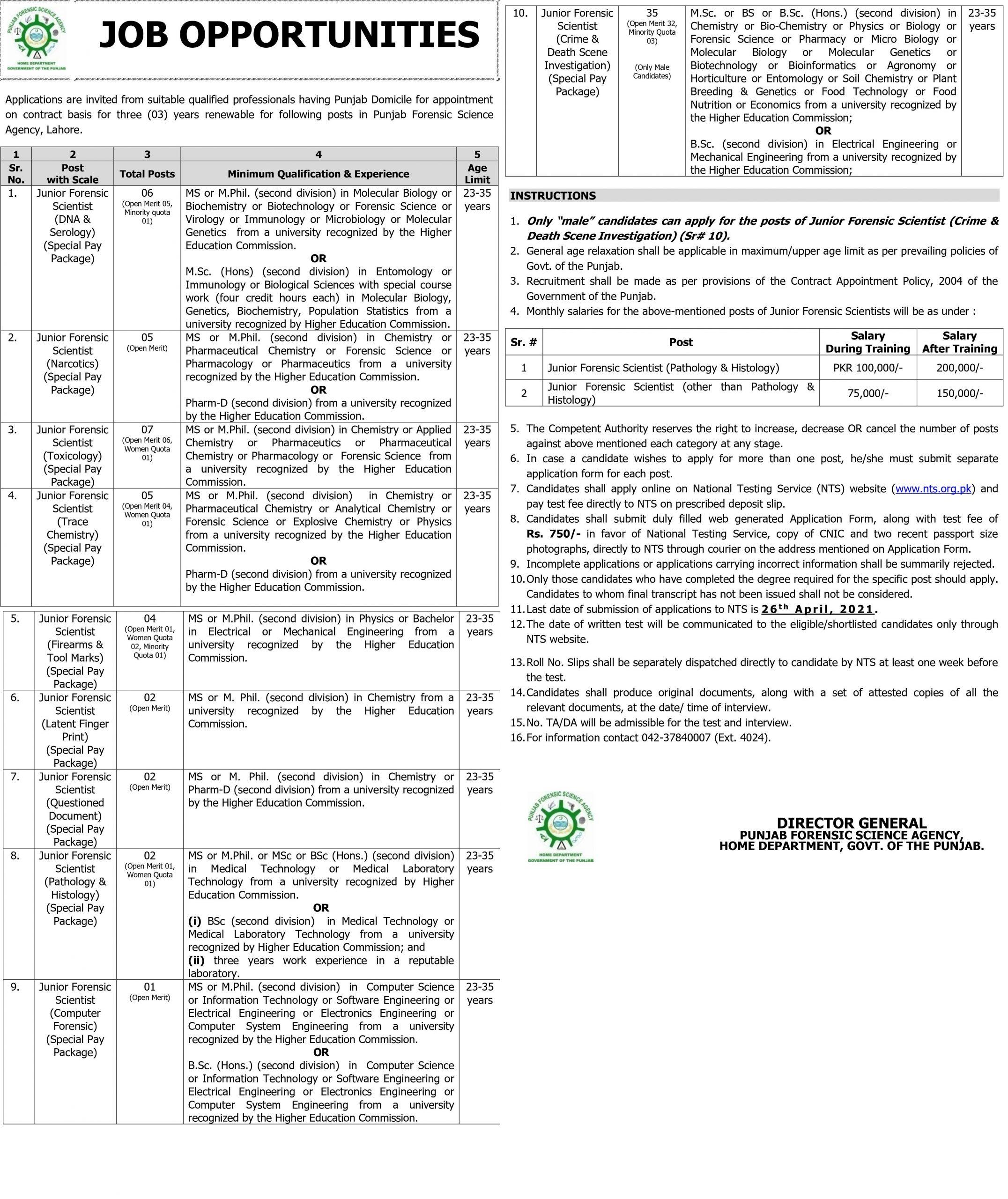 NTS Punjab Forensic Science Agency Lahore Jobs