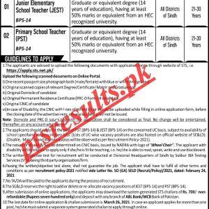 School Education & Literacy Department Sindh Jobs 2021 STS Apply Online Roll No Slip Download Online