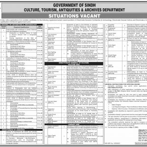 Culture Tourism & Antiquities Sindh STS Jobs 2021 Apply Online Roll No Slip Download