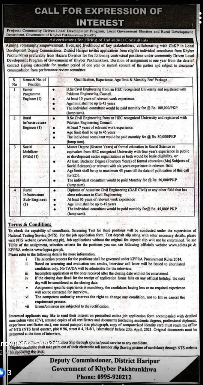 Deputy Commissioner Haripur NTS Jobs