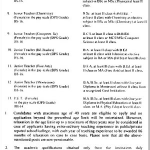 Divisional Public School & Inter College Lahore Jobs 2021 NTS Application Form
