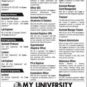 My University Jobs 2021 Apply Online Roll No Slip Download