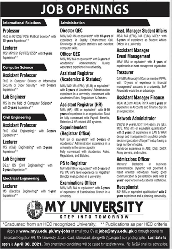 My University Islamabad Jobs
