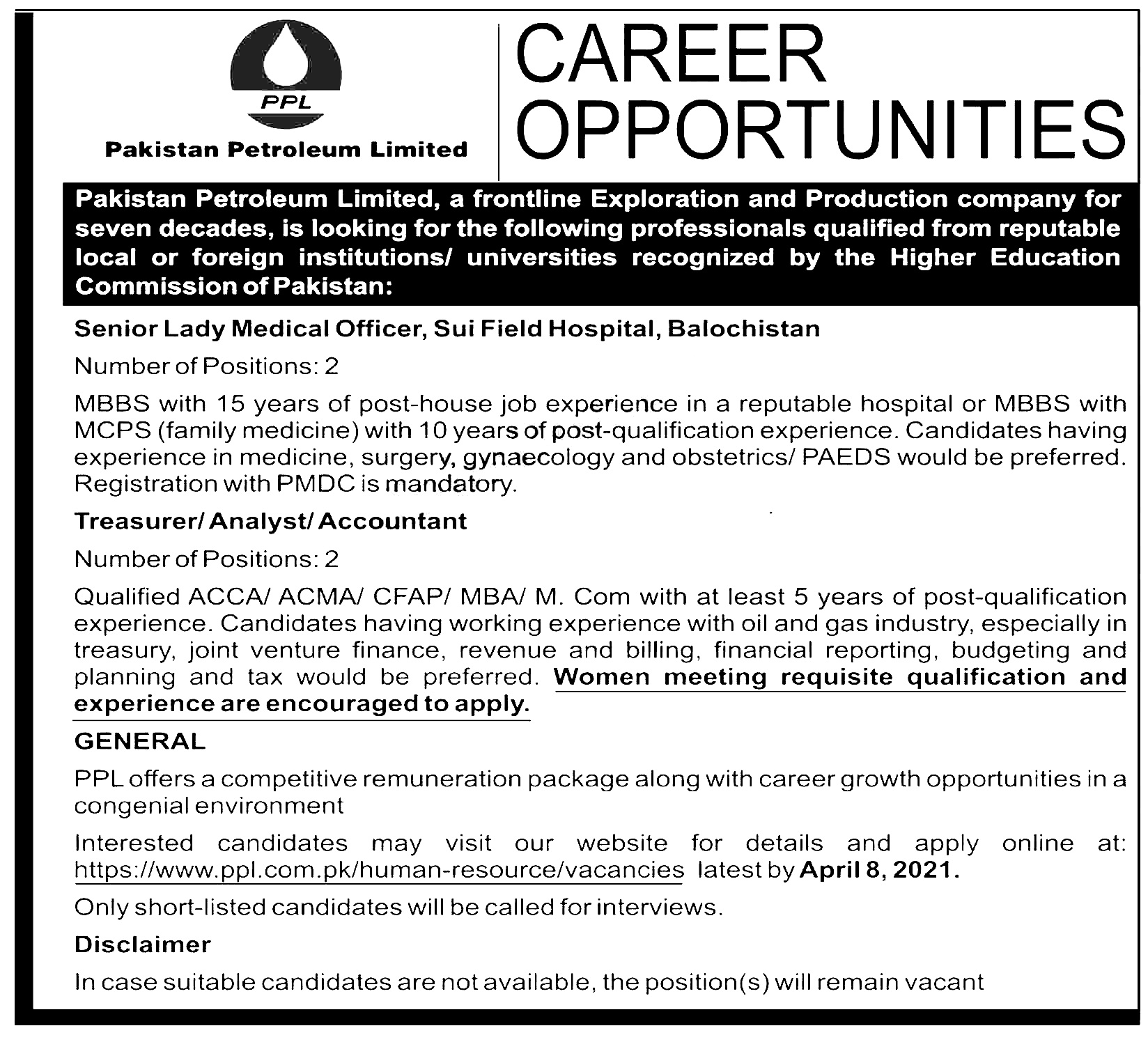 Pakistan Petroleum Limited PPL Jobs 2021 Application Form