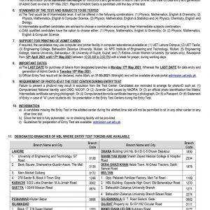 UET Lahore ECAT Entry Test 2021 Online Registration Test Schedule Roll No Slips