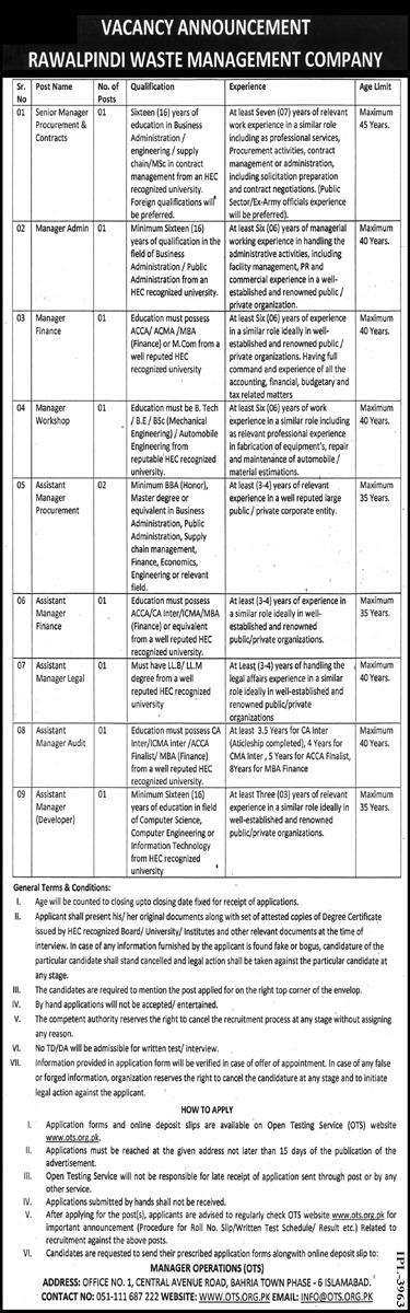 OTS Rawalpindi Waste Management Company Jobs 2021 Apply Online