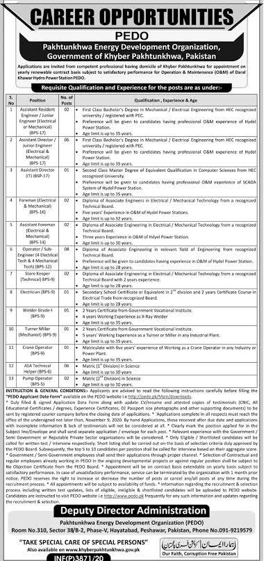 PEDO Pakhtunkhwa Energy Development Organization ATS Jobs