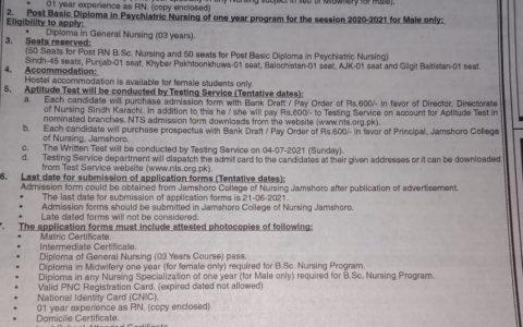 Directorate of Nursing Sindh Karachi BSc & Psychiatric Nursing Admission