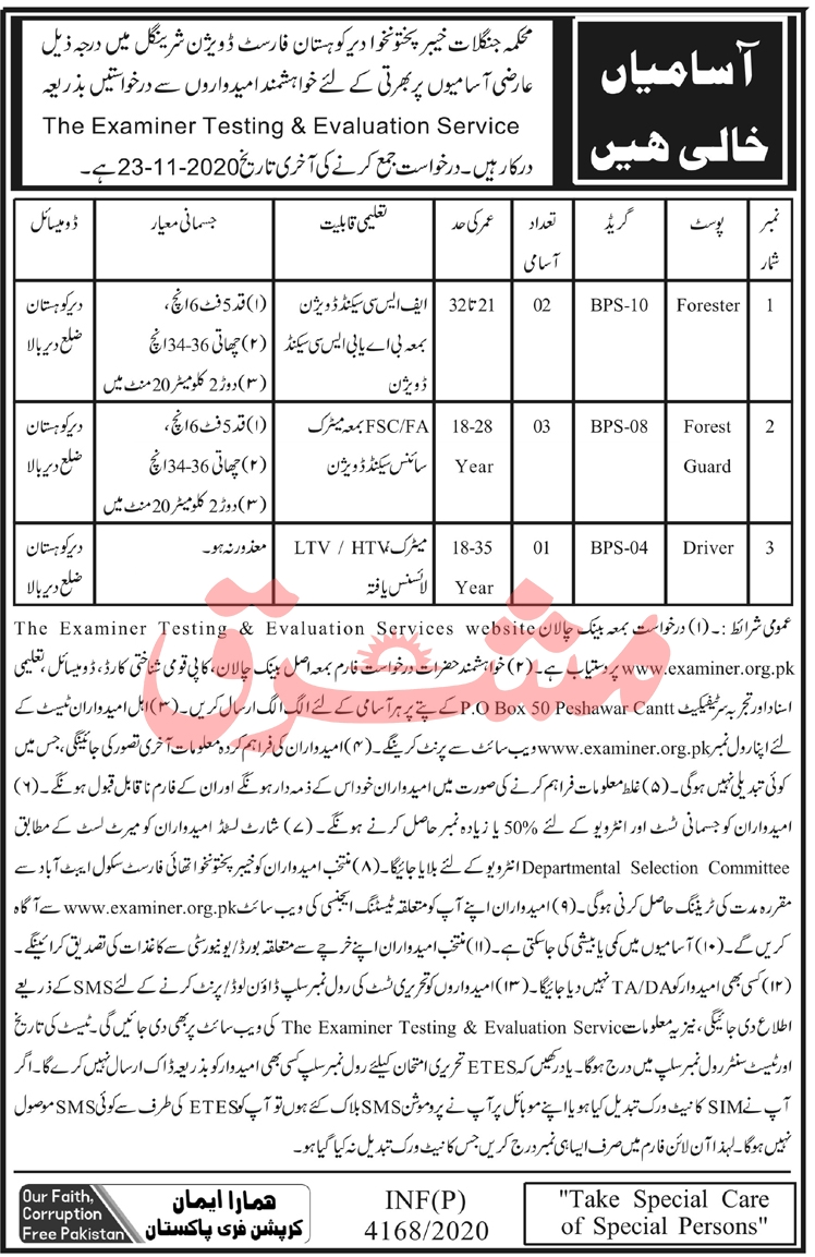 Divisional Forest officer DFO Kohistan Sheringal ETES Jobs