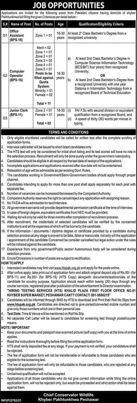Chief Conservator Wildlife Peshawar HTS Jobs Apply Online