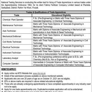 Fatima Fertilizer Company Apprenticeship NTS Jobs 2021 Apply Online