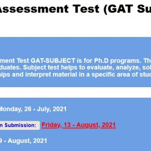 Graduate Assessment Test GAT Subject III 2021 NTS Apply Online Roll No Slip