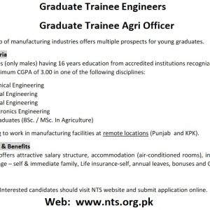 Graduate Trainees for a Leading Manufacturing Group 2021 NTS Apply Online Roll No Slip