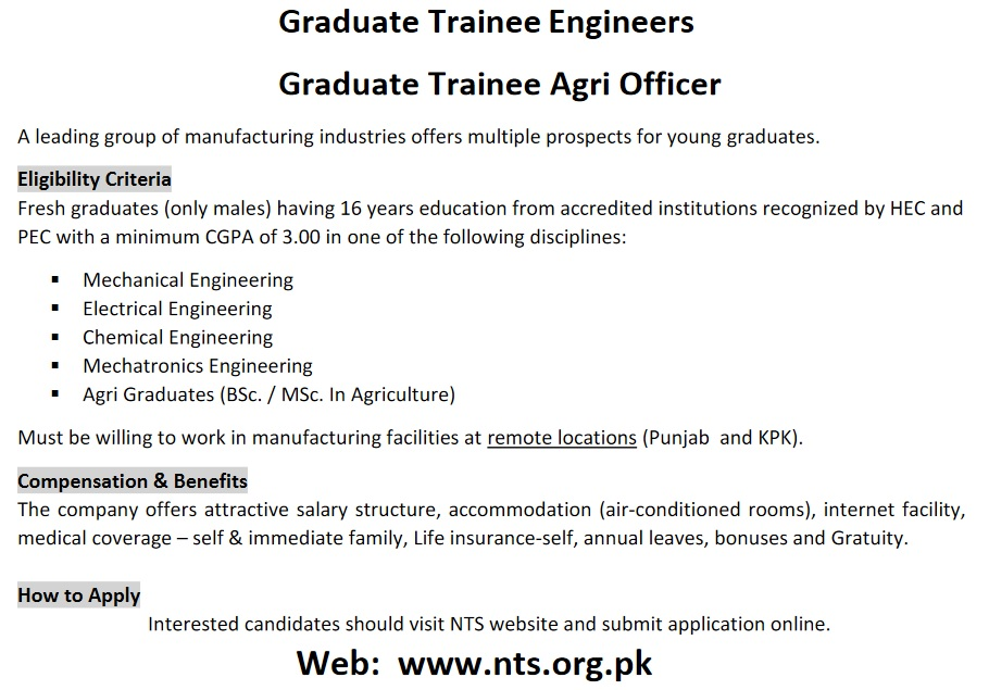 Graduate Trainees for a Leading Manufacturing Group NTS Apply Online Roll No Slip