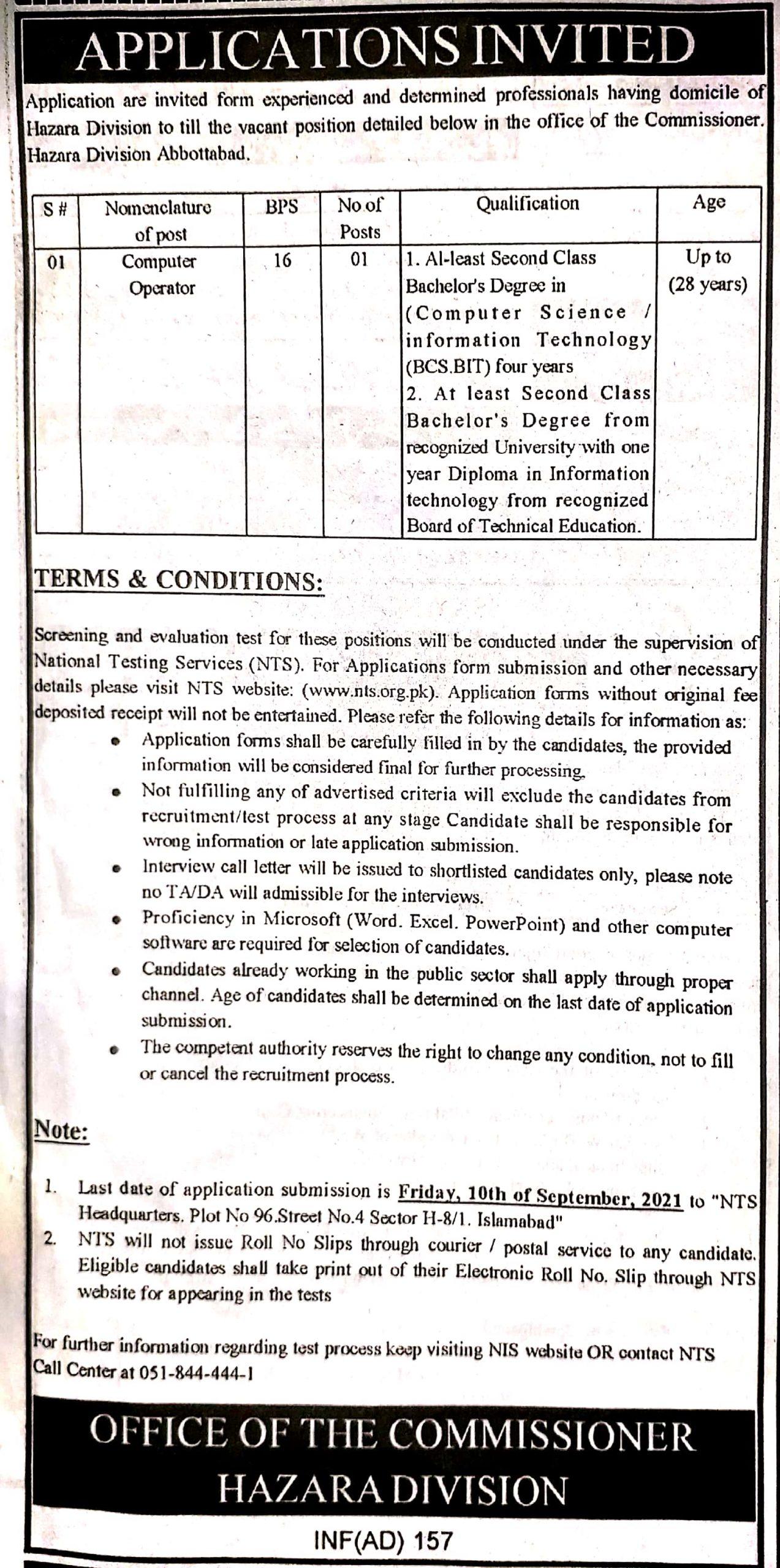 Commissioner Hazara Division Abbottabad NTS jobs