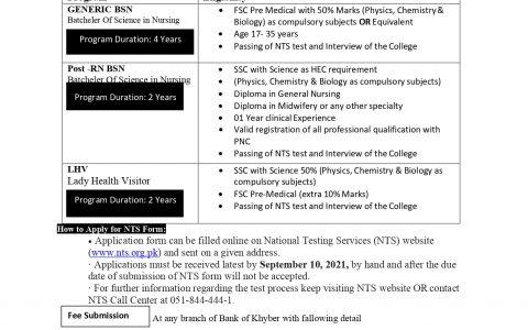 Shahid College of Nursing Shabqadar Charsadda Admission