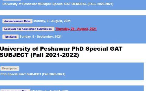 University of Peshawar MS/Mphil & PhD Admission NTS Apply Online