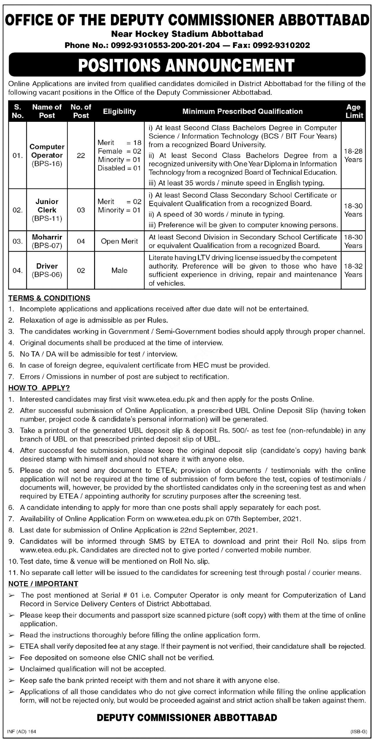 Deputy Commissioner Abbottabad ETEA Jobs Apply Online