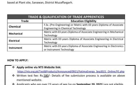 Fatima Energy Ltd Trade Apprenticeship