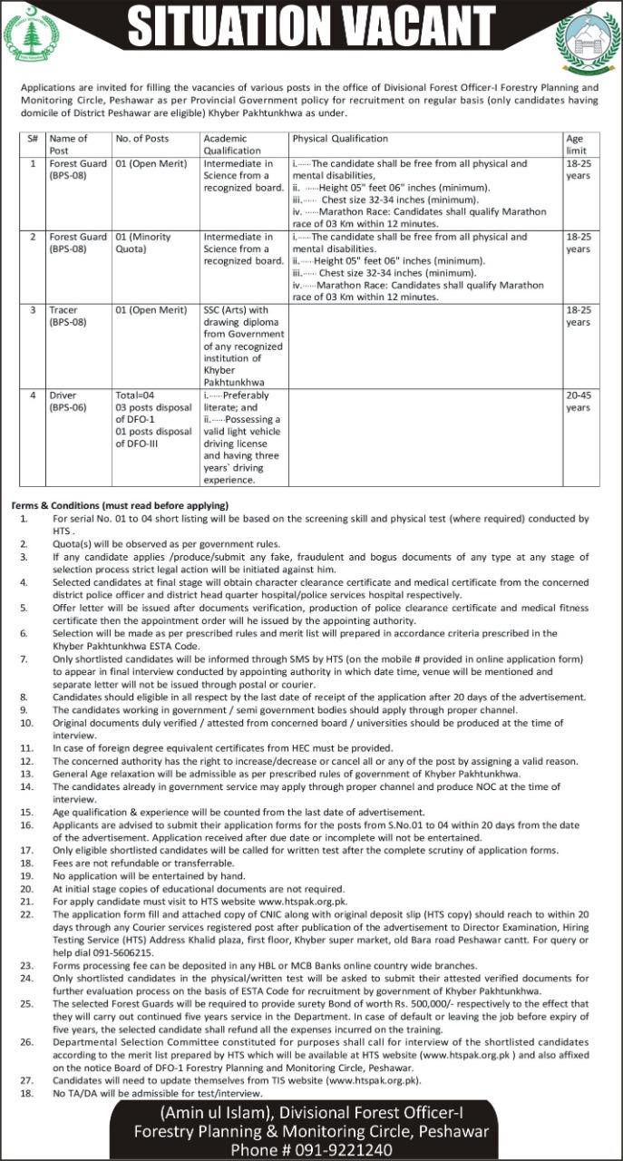 Forest Department Peshawar HTS Jobs
