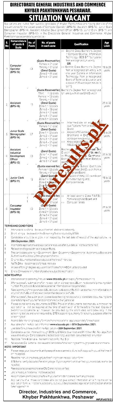Directorate General Industries & Commerce ETEA Jobs