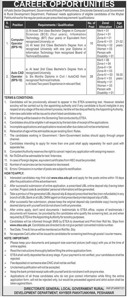 Local Government & Rural Development KPK ETEA Jobs