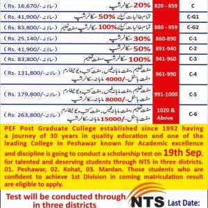 PEF Post Graduate College Scholarship 2021 NTS Apply Online Roll No Slip