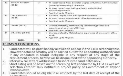 PMU Program Management Unit ETEA Jobs Apply Online